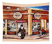 Jewish Montreal Vintage City Scenes Fish Market On Roy Street Tapestry