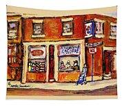 Jewish Montreal Vintage City Scenes Hutchison Street Butcher Shop  Tapestry