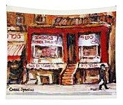 Jewish Montreal Vintage City Scenes Indigs Kosher Butcher Tapestry