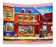 Jewish Montreal Vintage City Scenes Moishes St. Lawrence Street Tapestry