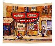 Jewish Montreal Vintage City Scenes Schwartzs Original Hebrew Deli Tapestry