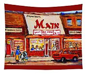 Jewish Montreal Vintage City Scenes The Main Rib Steaks On St. Lawrence Boulevard Tapestry