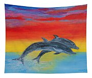 Jumping Dolphins Right Tapestry