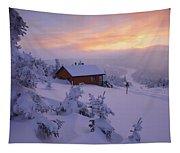 La Chouette Cabin At Twilight, Gaspesie Tapestry