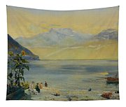 Lake Leman With The Dents Du Midi In The Distance Tapestry