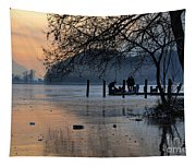 Lake With Ice In Sunset Tapestry