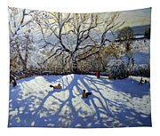 Large Tree And Tobogganers Tapestry