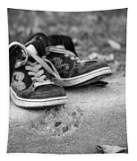 Left On The Curb Bw Tapestry