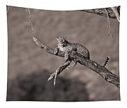 Leopard Panthera Pardus In A Tree Tapestry