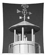 Light House On Coney Island In Black And White  Tapestry