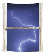 Lightning Strike White Barn Picture Window Frame Photo Art  Tapestry