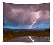Lightning Striking Longs Peak Foothills 2 Tapestry