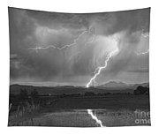 Lightning Striking Longs Peak Foothills 2bw Tapestry