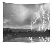 Lightning Striking Longs Peak Foothills 4bw Tapestry