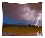 Lightning Striking Longs Peak Foothills 8 Tapestry
