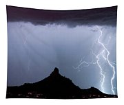 Lightning Thunderstorm At Pinnacle Peak Tapestry
