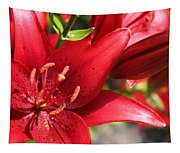 Lilies In Red Tapestry