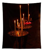Lit Candles In A Church Tapestry
