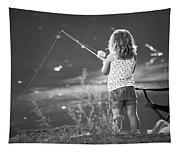 Little Fishing Girl Tapestry
