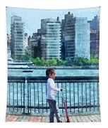 Little Girl On Scooter By Manhattan Skyline Tapestry