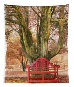 Little Red Bench Tapestry