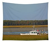 Lobster Boat Along Maine Tapestry