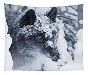 Lone Wolf In Snow Tapestry