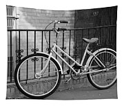 Lonely Bike In Black And White Tapestry
