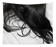 Long Dark Hair Of A Woman On White Pillow Tapestry