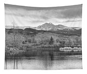 Longs Peak And Mt Meeker Sunrise At Golden Ponds Bw  Tapestry
