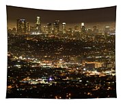 Los Angeles  City View At Night  Tapestry
