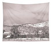 Low Clouds On The Colorado Rocky Mountain Foothills 3 Bw Tapestry