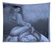 Lydia The Tattooed Mermaid In Cyan Tapestry