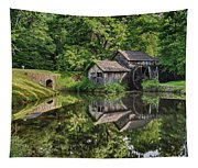 Mabry Mill And Pond With Reflection Tapestry