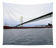 Mackinac Bridge With Ship Tapestry