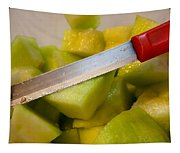 Macro Photo Of Knife Over Bowl Of Cut Musk Melon Tapestry