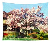 Magnolia Near Green House Tapestry