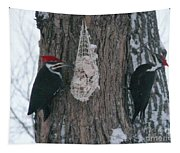 Male And Female Pileated Woodpeckers Tapestry