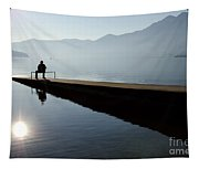 Man Sitting On The Pier Tapestry