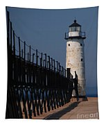 Manistee Harbor Lighthouse And Cat Walk Tapestry