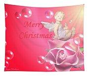 Merry Christmas Cherub And Rose Tapestry