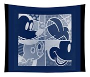 Mickey In Negative Deep  Blue Tapestry