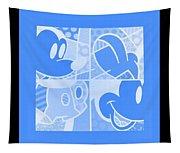 Mickey In Negative Light Blue Tapestry
