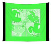 Mickey In Negative Light Green Tapestry
