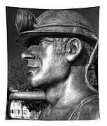 Miner Statue Monochrome Tapestry