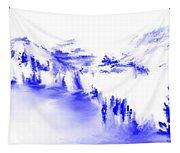 Minimal Landscape Monochrome In Blue 111511 Tapestry
