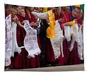 Monks Wait For The Dalai Lama Tapestry