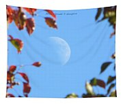 Moon Amidst Red Leaves Tapestry