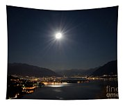Moon Light Over An Alpine Lake Tapestry
