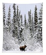 Moose In Deep Snow, Near Teslin, Yukon Tapestry
